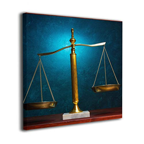 (Frameless Oil Painting Law Scales Justice Modern Canvas Wall Art Pictures Decor Ready to Hang for Home Living Room Bedroom Bathroom Office - 30/40/50cm)