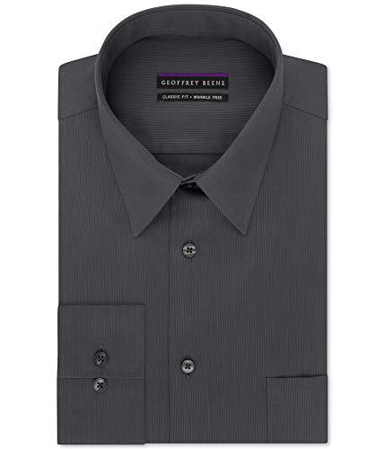 Geoffrey Beene Mens Big & Tall Pinstriped Wrinkle Free Dress Shirt Gray
