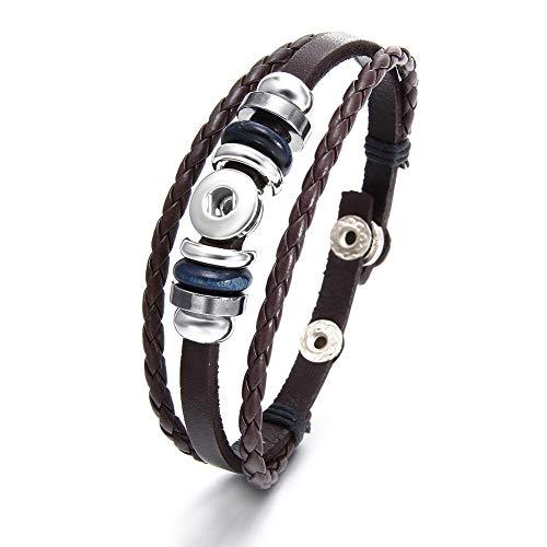 Snap Button Bracelet Vintage Wrap Bracelet for Women Multi Layerd Snap Jewelry Chams Bracelet DIY Accessories (B-Brown) ()