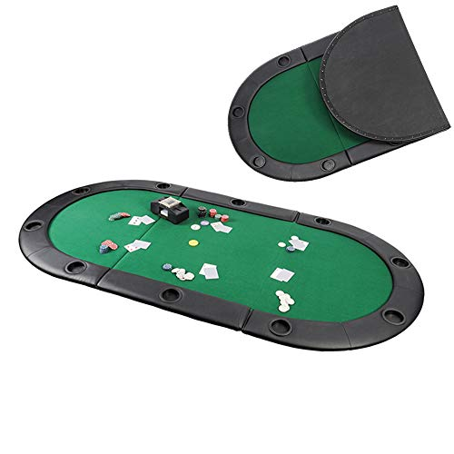 YUSDP Portable Tri-Fold Poker Table Top - Oval Padded,10 Player Combination with Carrying Bag- Non-Woven Material, No Reflection- Leisure Gift, 8442 Inch