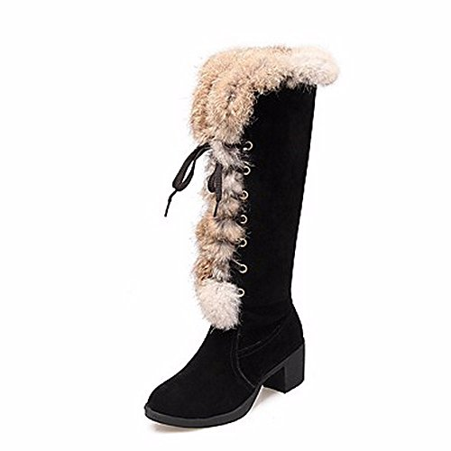 ZHUDJ Damen Schuhe Winter Komfort Snow Boots Blockabsatz Runder Stiefel Split Gemeinsame Lace-Up Für Casual Mandel Black