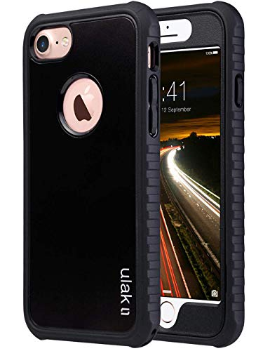 ULAK iPhone 8 & 7 Case, Black Shock-Absorbing Flexible Durability TPU Bumper Case, Durable Anti-Slip, Front and Back Hard PC Defensive Protection Cover for Apple iPhone 7 4.7 inch, Black