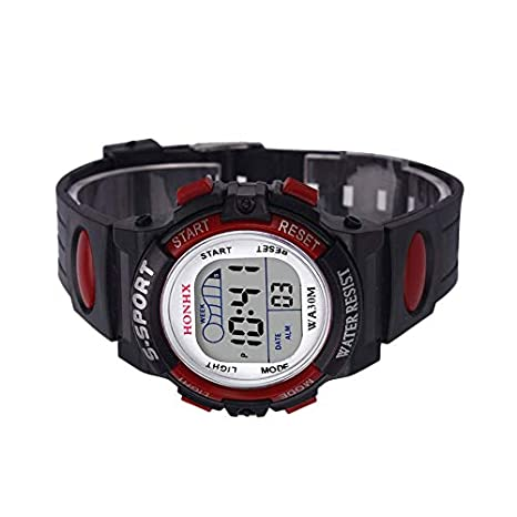 HermosaUKnight Reloj LED Reloj Digital Alarma Fecha Goma Army Sport Relojes Infantiles-Rojo: Amazon.es: Hogar