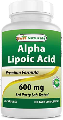 Best Naturals Alpha Lipoic Acid 600 mg 60 Capsules - ALA Powerful Antioxidant