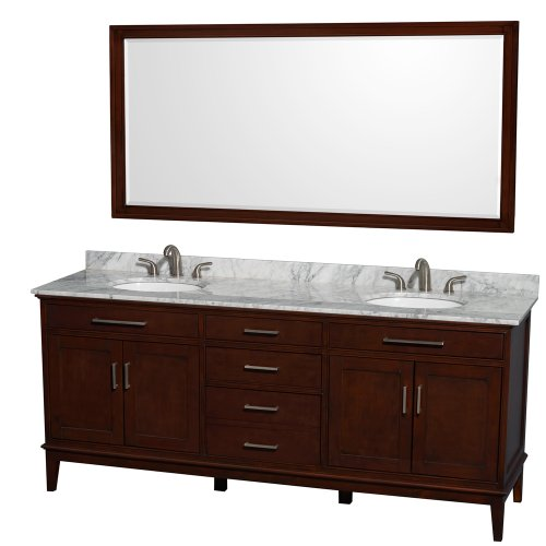 Wyndham Collection Hatton 80 inch Double Bathroom Vanity in Dark Chestnut, White Carrara Marble Countertop, Undermount Oval Sinks, and 70 inch Mirror