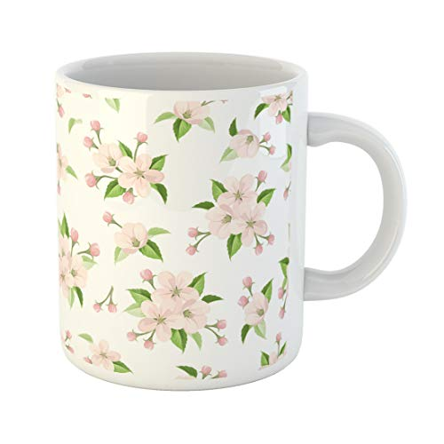 Semtomn Funny Coffee Mug Vector Seamless Pattern with Pink Apple Blossoms and Green Leaves 11 Oz Ceramic Coffee Mugs Tea Cup Best Gift Or Souvenir (Blossom Coffee Apple)