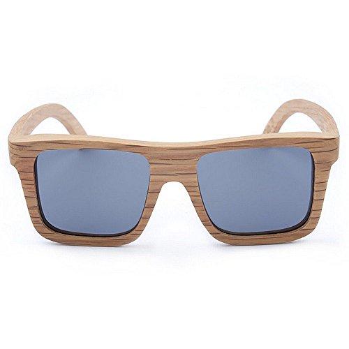 de de madera la polarizado de sol de de Adult los retro gris cuadradas calidad alta cebra madera la sol hombres Lente Gafas TAC Protección Eyewear de Gafas mano de de conducción la hecho de a UV Gafas qOT67pT