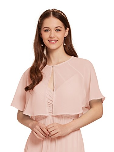 AW Women's Chiffon Wrap Shawl Shrug Sheer Wedding Cape Bolero Jacket for Bridesmaid, Pink, (Sheer Bolero)
