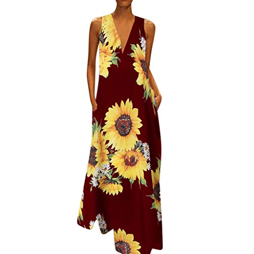 (Maxi Dresses for Women丨Deep V Neck Boho Butterfly Print Summer Casual Sleeveless Dress丨Womens Loose Party Dress Plus Size(Wine,S))