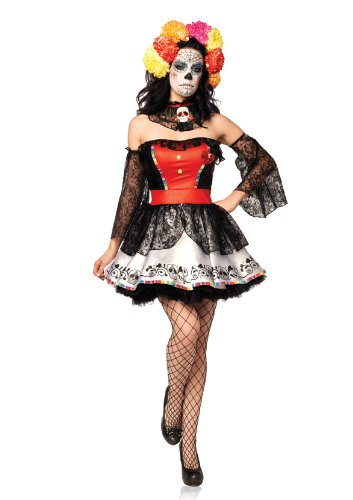 Leg Avenue Women's 4 Piece Sugar Skull Beauty Dress With Lace Sleeves And Neck Piece, Black/Red, (Red Skull Costume)
