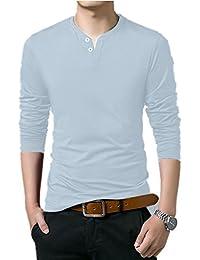 Men's 100% Cotton Henley Shirt Long Sleeve Shirts Tee