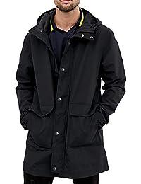 Men's Waterproof Raincoat Hooded Windbreaker Lightweight Long Rain Jacket Active Outdoor Trench Coat S-XXL