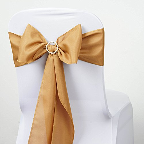 BalsaCircle 10 Gold Polyester Chair Sashes Bows Ties - Wedding Party Ceremony Reception Decorations Supplies Wholesale