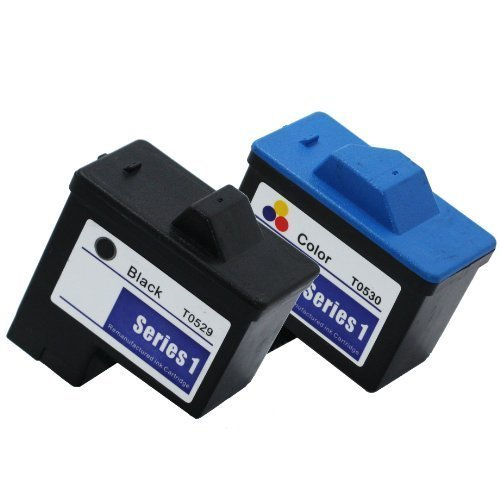 (2 Pack Remanufactured (Series 1) DELL T0529 Black and T0530 Color Ink Cartridges for Dell A920 All-In-One and 720 Printers)