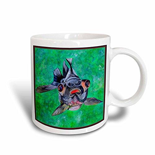 3dRose Blackmoor Goldfish, Telescope Goldfish, Dragon Eye Goldfish, Ceramic Mug, 11-Oz