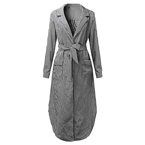Suit V Black Ragazza Caviglia Manica Delle Con Abito Top Stripe Mengonee A Long Donne Pocket Scollo Autunno zBgaqUB