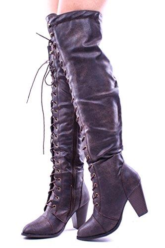 Lolli Couture für immer Link Kunstleder Lace UP lange Kampfstil mit Ferse kniehohe lange Stiefel Braun