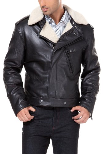 Lambskin Double Flap - BGSD Men's Grant New Zealand Lambskin Leather Motorcycle Jacket- Black XXL