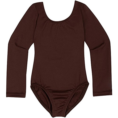 (Toddler and Girls Leotard for Dance, Gymnastics and Ballet with Long Sleeve Brown S)