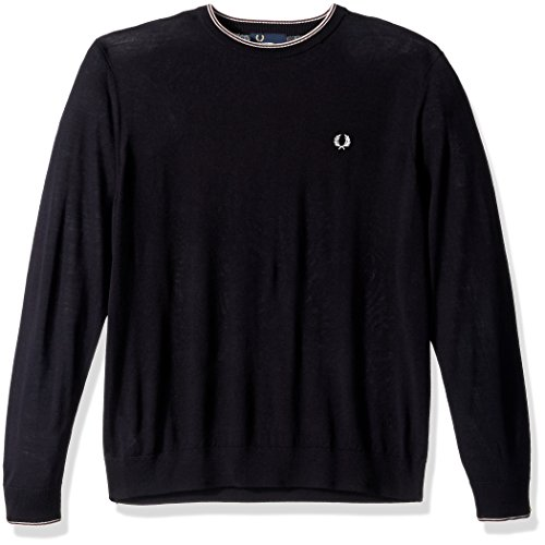 Fred Perry Men's Fine Merino Crew Neck Sweater, Navy, Large by Fred Perry (Image #1)