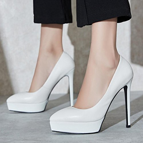 Court Shoes XUERUI Ms High Heels Stilettos Sandals Wedding Graduation Jobs Bridal Shoes Waterproof Elegant Fashion Beautiful Fit 12.5cm Heel White rgOFOa