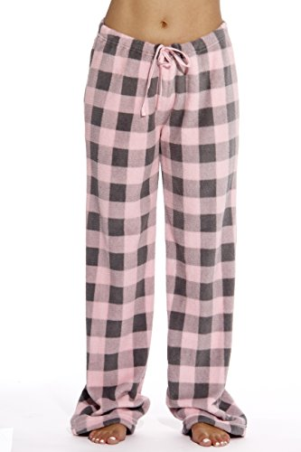 Just Love Women's Buffalo Plaid Plush Check Pajama Pants, Buffalo Plaid Pink / Charcoal, - Accounting Checks
