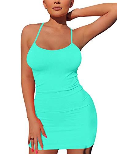 Mizoci Women's Basic Spaghetti Strap Tank Dress Sexy Sleeveless Bodycon Mini Club Dress,X-Large,Light Blue