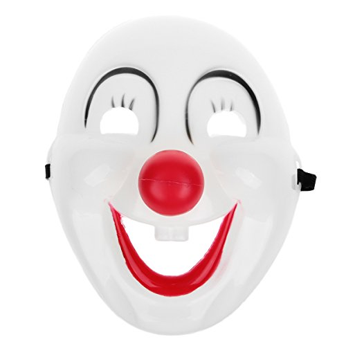 Clown Mask Halloween Masquerade Party-White + Black + Red -