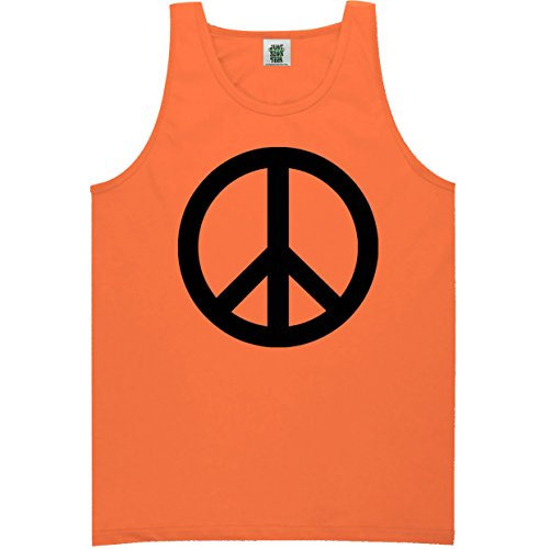 (ZeroGravitee Youth Peace Sign Bright Neon Orange Tank Top - X-Small)