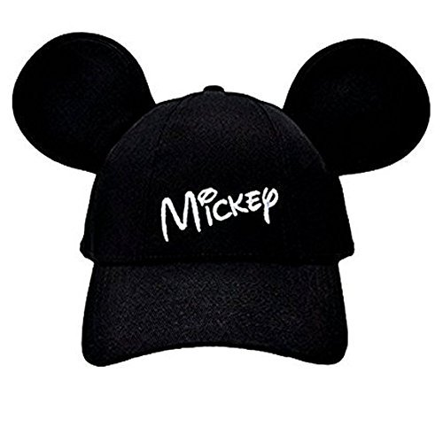Disney Adult Mickey Mouse Baseball Cap With Ears Black (Disney Hats For Adults)