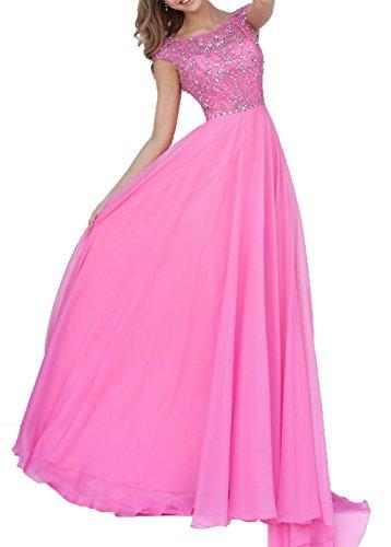 Elegant Charmant Partykleider Abendkleider Pink A Linie Bodenlang Chiffon Steine Damen Abschlussballkleider f1qxUn1Sw