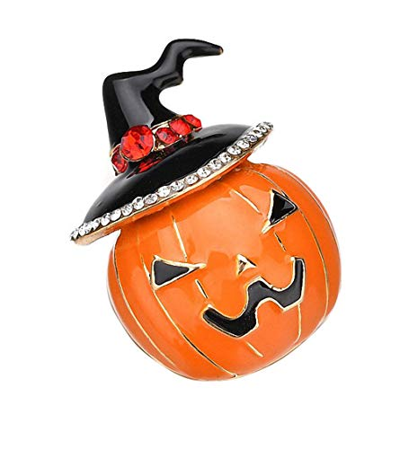Ahugehome Halloween Witch Pumpkin Women Brooch Pin Alloy Inlay Crystal Vintage Gift Box (AO Witch -