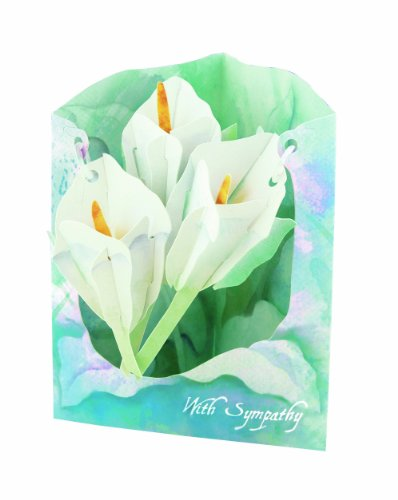 Lily Sympathy Card - Santoro Interactive 3D Swing Greeting Card, Sympathy Watercolor Lilies