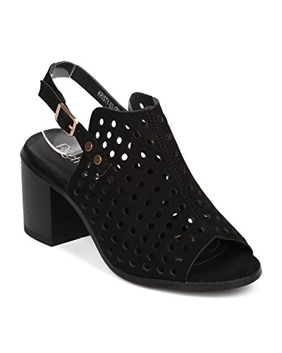 Women Slingback Chunky Heel Mule - Perforated Block Heel - Peep Toe Mule - HA56 By Alrisco - Black Faux Suede (Size: (Girls Black Hazel Shoes)
