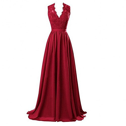 damigella Line Beauty Backless scollo Burgundy KA d' A con Prom Appliques abiti V donna onore Gown a HP7wq7