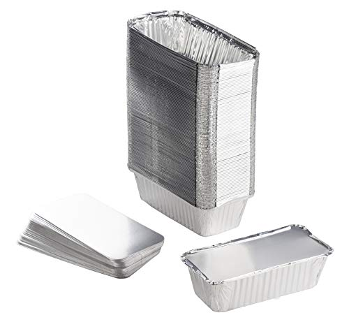 Aluminum Foil Pans - 100-Piece Loaf Pans With Lids, Deep Disposable Steam Table Pans for Baking, Serving, Roasting, Broiling, Cooking, 8.1 x 2.4 x 4.2 Inches, 20.4-Ounce Capacity