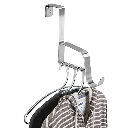 mDesign Over the Door Valet Hook for Coats, Hats, Robes, Towels - 1 Hook, Brushed Stainless Steel