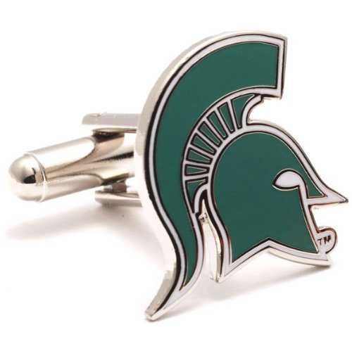 Michigan Spartans State Cufflinks (Silver Plated Michigan State Spartans Cufflinks)