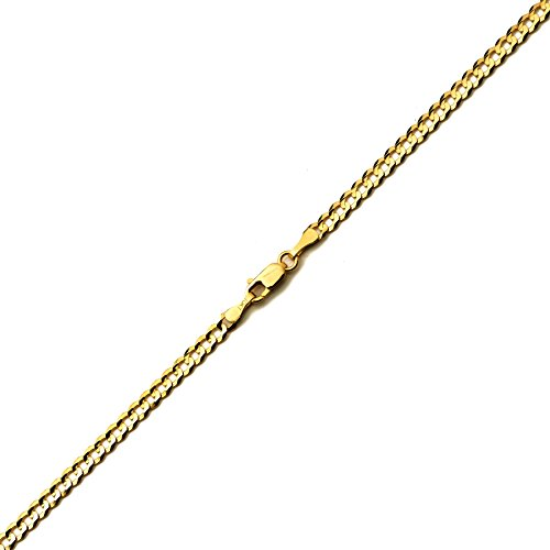"LoveBling 10k Yellow Gold 3mm Plain Solid Curb Cuban Bracelet W/ Lobster Lock ( 7"", 8"", 9"")"