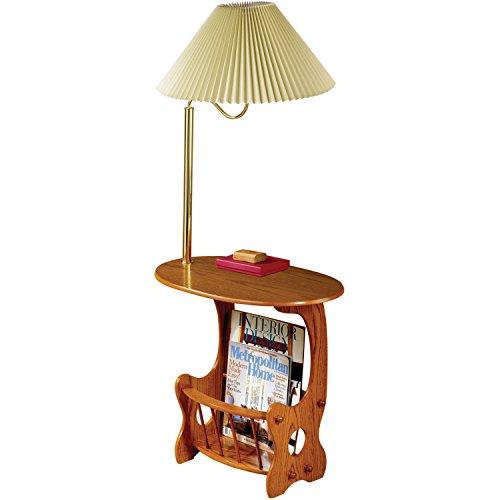Venetian Worldwide Laguna-1 Chair Side Table with Brass Finish Lamp and Magazine Rack, Oak (Venetian Table Lamp)