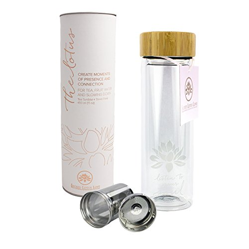 -[ The Lotus Glass Tea Tumbler with Infuser   Strainer for Loose Leaf & Ice Tea, Cold Brew Coff