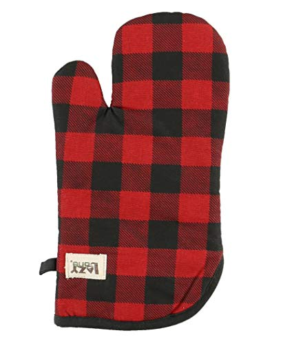 (Moose Plaid Durable Canvas Cottons Oven Mits by LazyOne | Cabin, Home and Kitchen Animal Gifts (ONE Size))