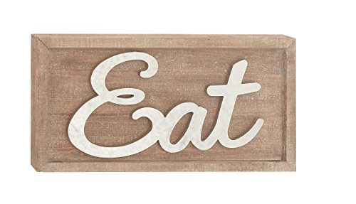 Deco 79 59477 Wood and Metal Eat Wall Sign, Brown/White (Metal Sign Eat)