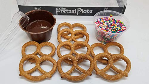 (Pretzel Plate Dip It Yourself Chocolate Pretzel Dipping Kit. Fun, delicious and creative activity. Perfect for parties, get togethers and gifts.)