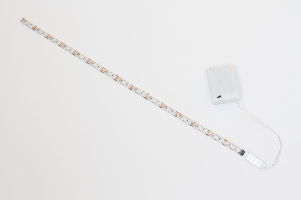 LED Light RGB Strip 50cm 19.7in. + Battery box + mini controller , battery powered, multi color BT