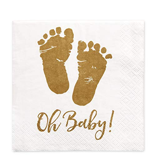 100 Baby Shower Napkins Oh Baby Beverage Napkins 3-Ply Gold Feet White Paper Cocktail Napkins for Boy and Girl Baby Shower by Gift Boutique -
