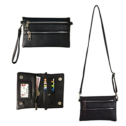 Crossbody Wallet Wristlet FanCarry PU Leather Women's Clutch Purse Card Organizer with Front Zipper Pockets (Black)
