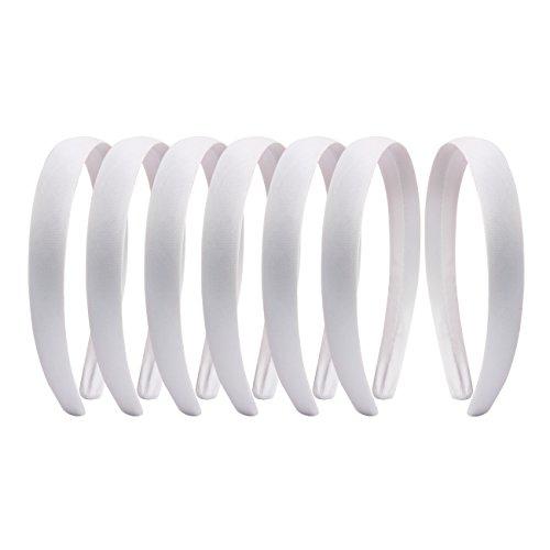 2cm Wide Satin Covered Alice Hair Band Headband (white)