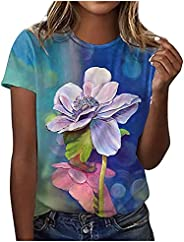Graphic Tees Shirts for Womens Summer Tops Loose Fit Short Sleeve Tunic 2021 Floral Printed Tshirts