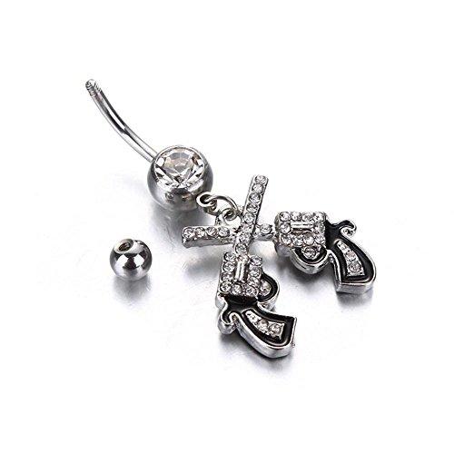 Display Belly Jewelry (Cloudga Zircon Gun Crystal Barbell Rhinestone Beach Woman Body Jewelry Belly Button Ring Piercing Dangle)